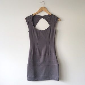 Guess Gray Bodycon Dress with Back Cut Out